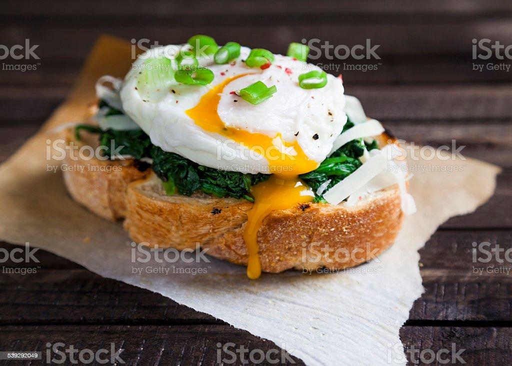 delicious fresh benedict eggs stock photo
