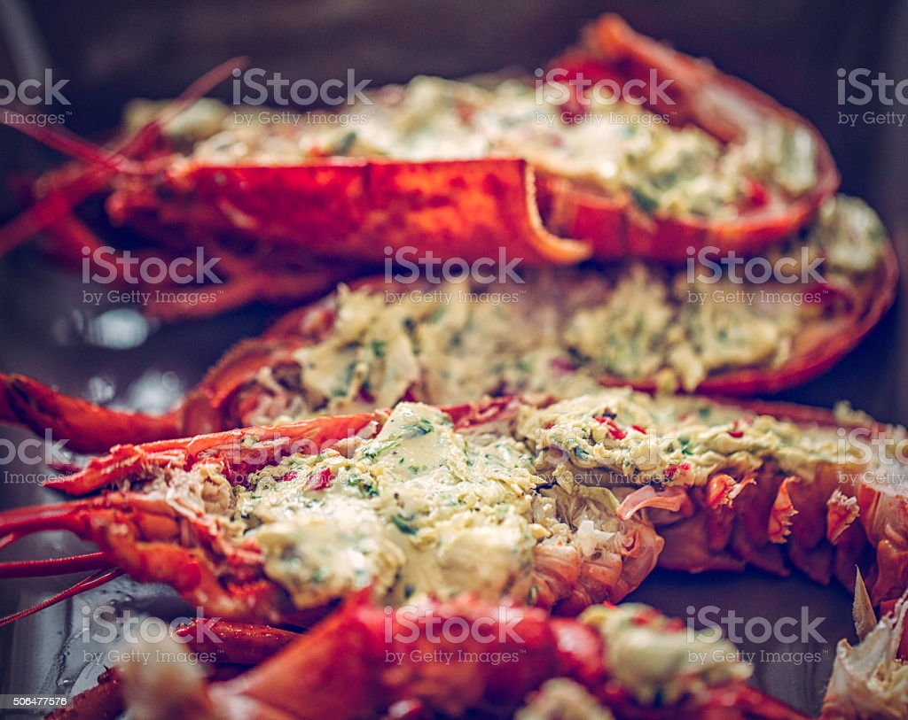 Delicious Fresh Cooked and Grilled Lobster stock photo