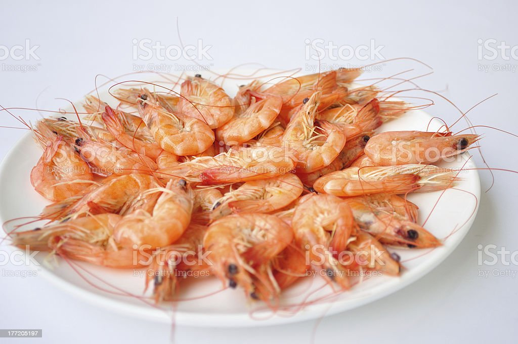 delicious fresh cooked shrimp prepared to eat stock photo