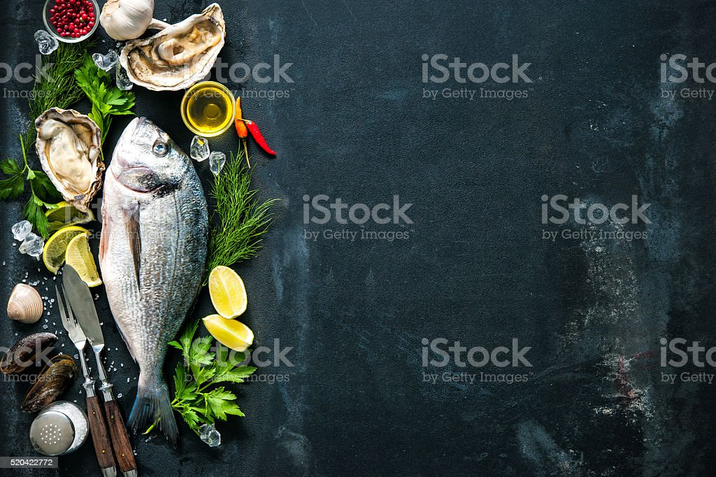 Delicious fresh fish and oysters stock photo