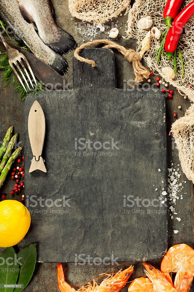 Delicious fresh fish and seafood stock photo