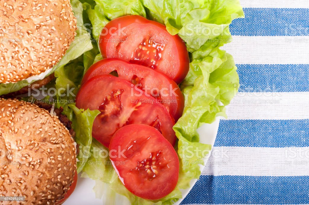 Delicious fresh homemade burger on a fabric background stock photo