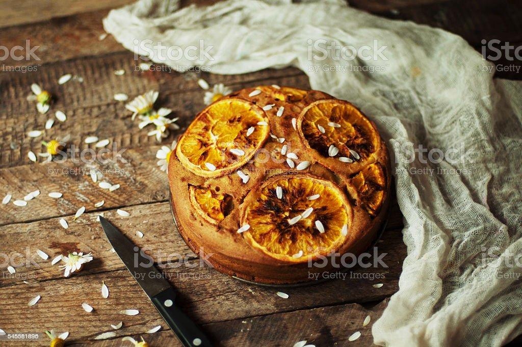 Delicious fresh homemade pie with orange stock photo