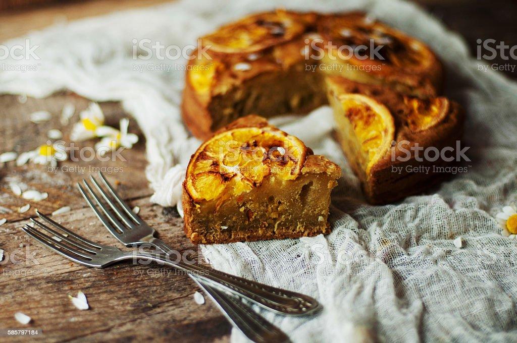 Delicious fresh homemade pie with orange zest stock photo