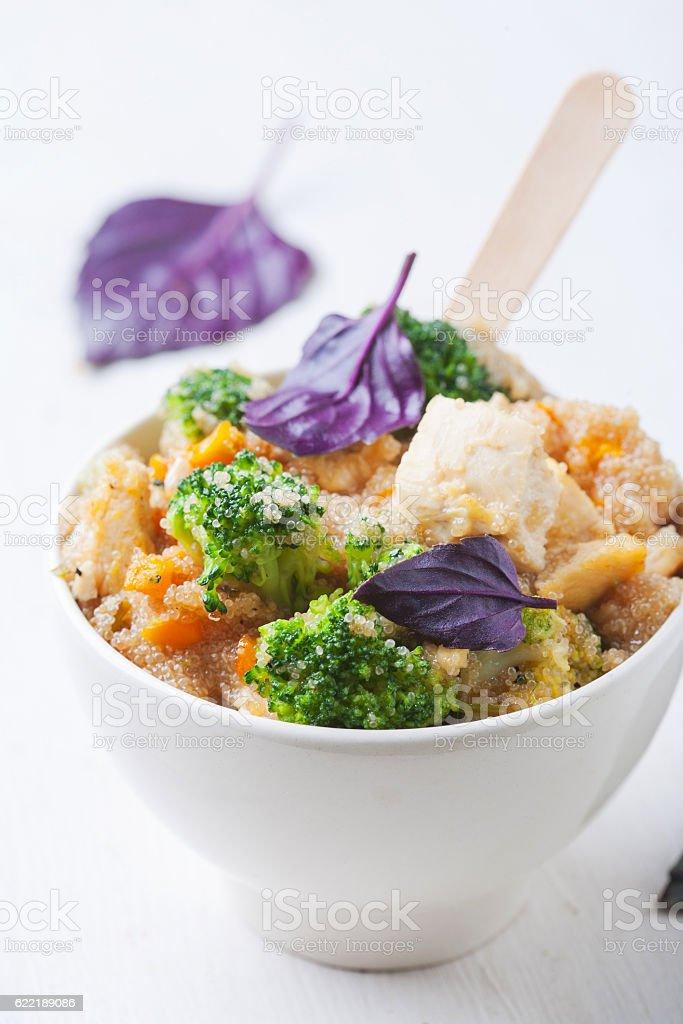 Delicious fresh meal with quinoa, vegetables and meat stock photo