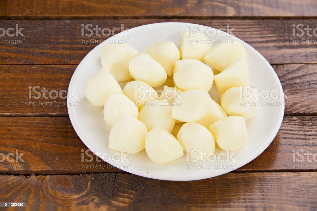delicious fresh mozzarella on  white plate stock photo