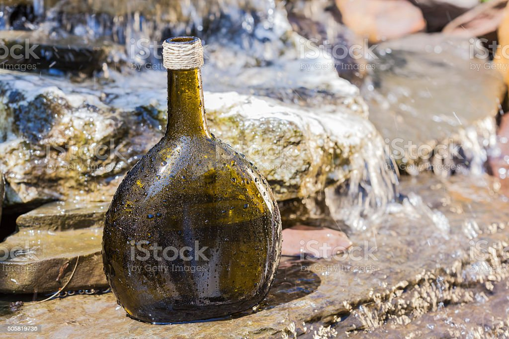 delicious fresh rosé wine chilled in waterfall stock photo