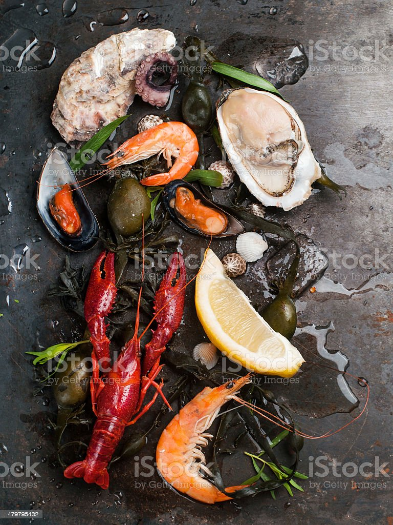 Delicious fresh seafood stock photo