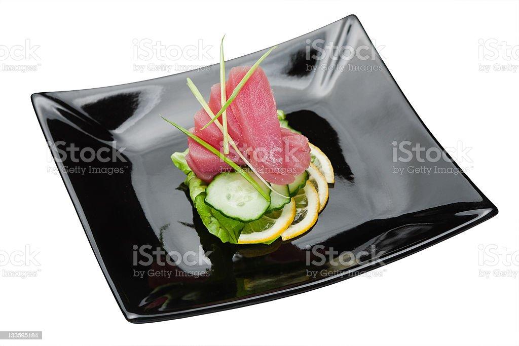 Delicious fresh sliced tuna royalty-free stock photo