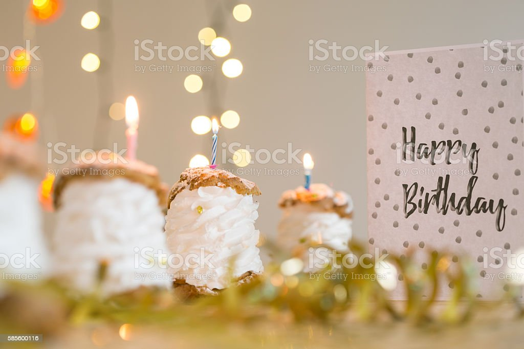 Delicious fresh snacks for birthday party stock photo