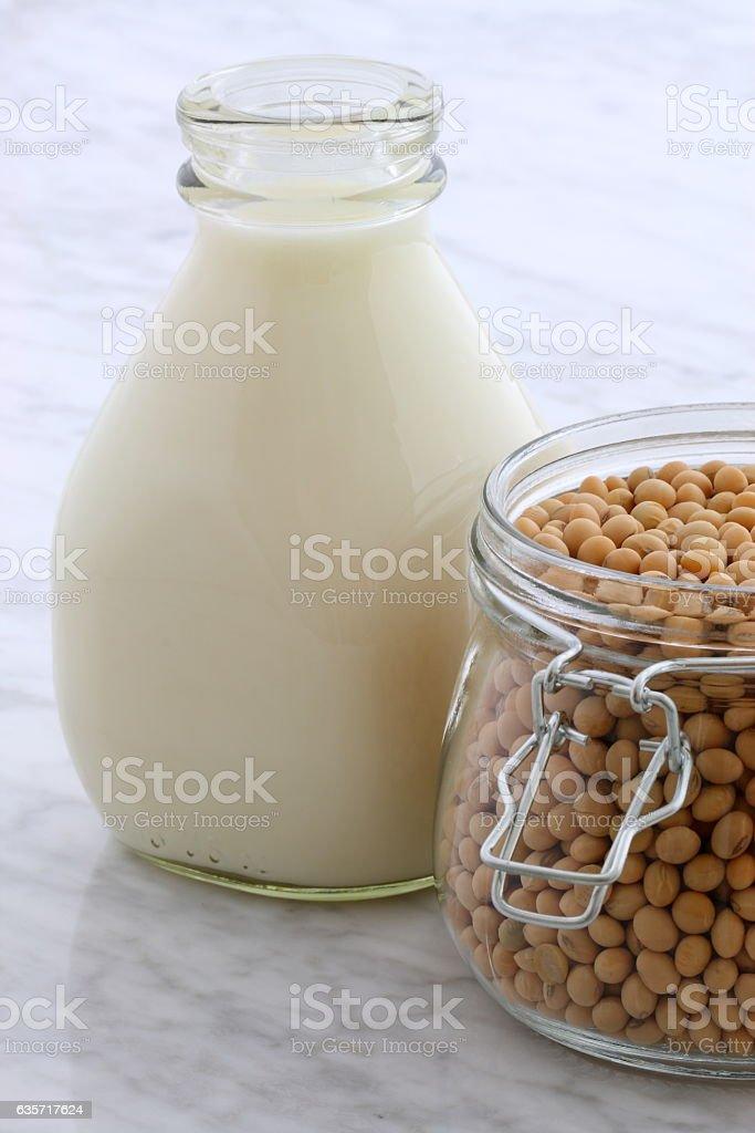 delicious fresh soy milk stock photo