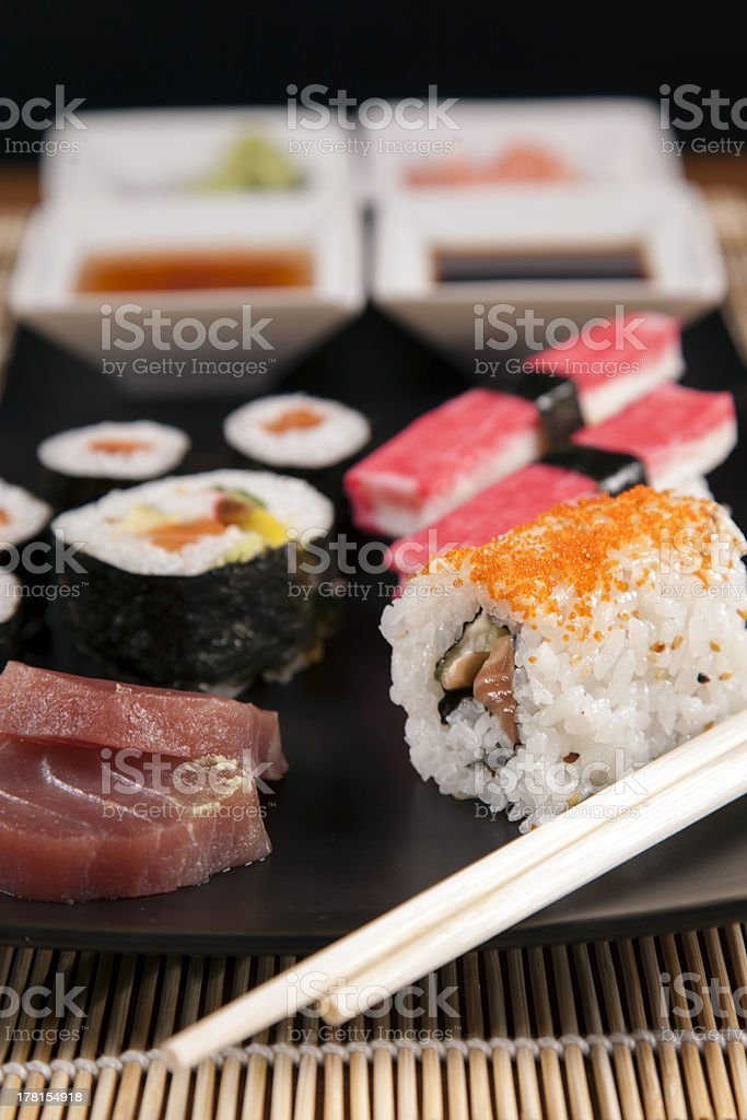 Delicious fresh sushi royalty-free stock photo