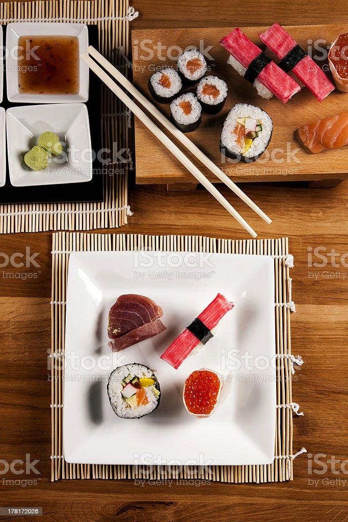 Delicious fresh sushi royalty-free stock photo