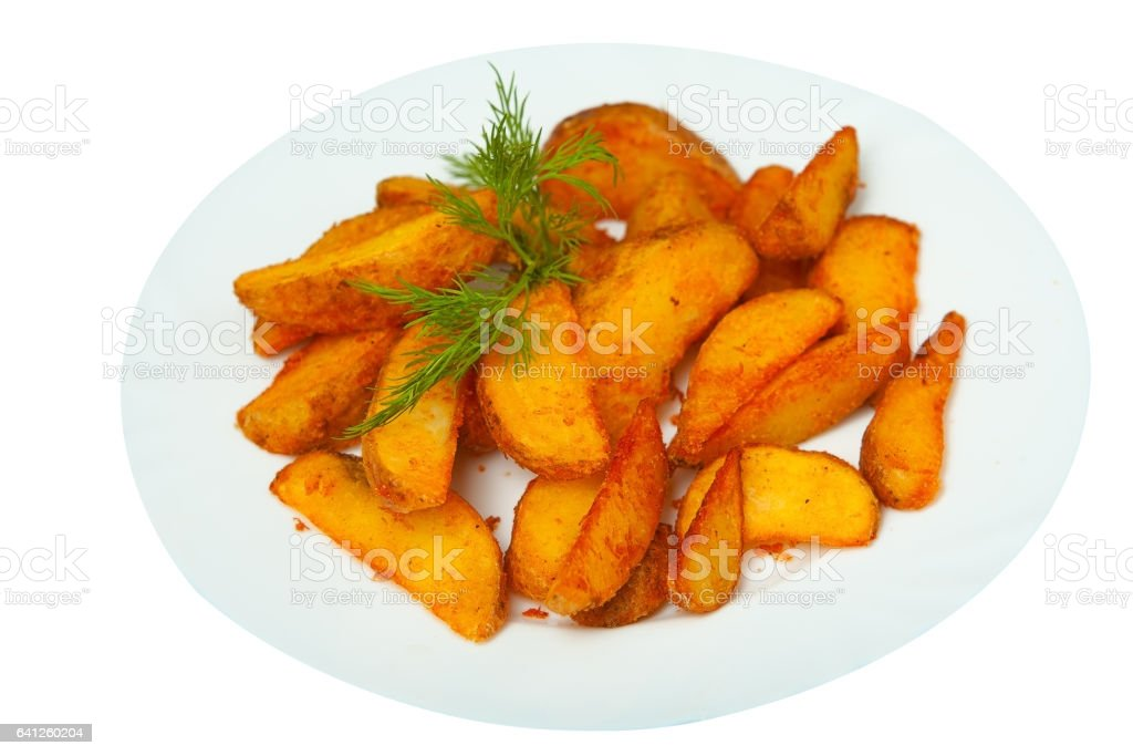 delicious fried potatoes on plate on white background stock photo