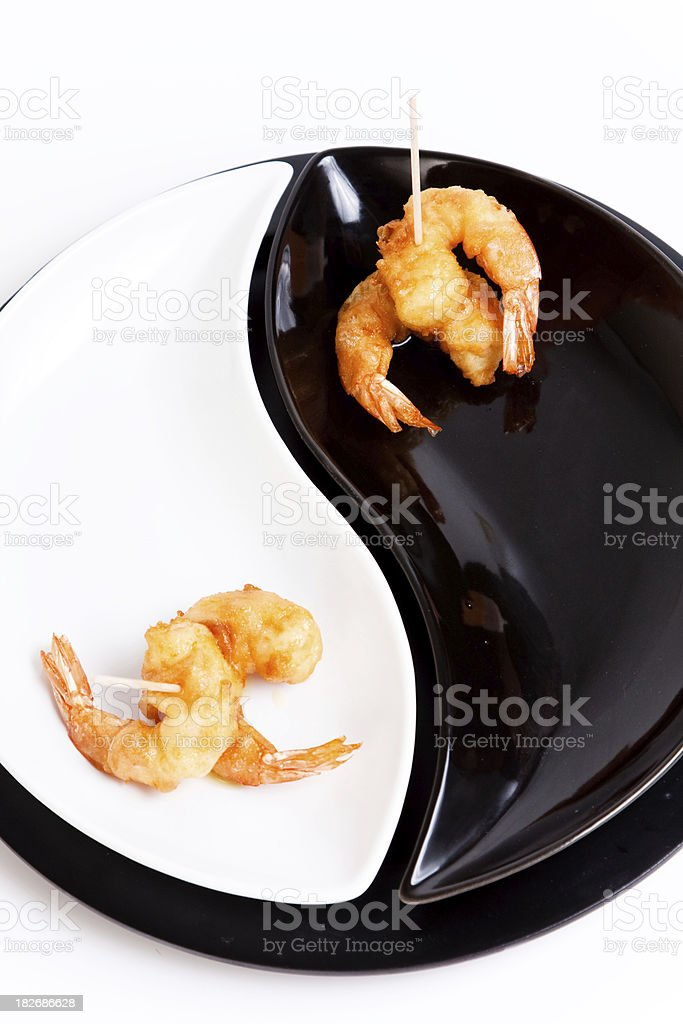 Delicious fried shrimp on a plate of yingyan. stock photo