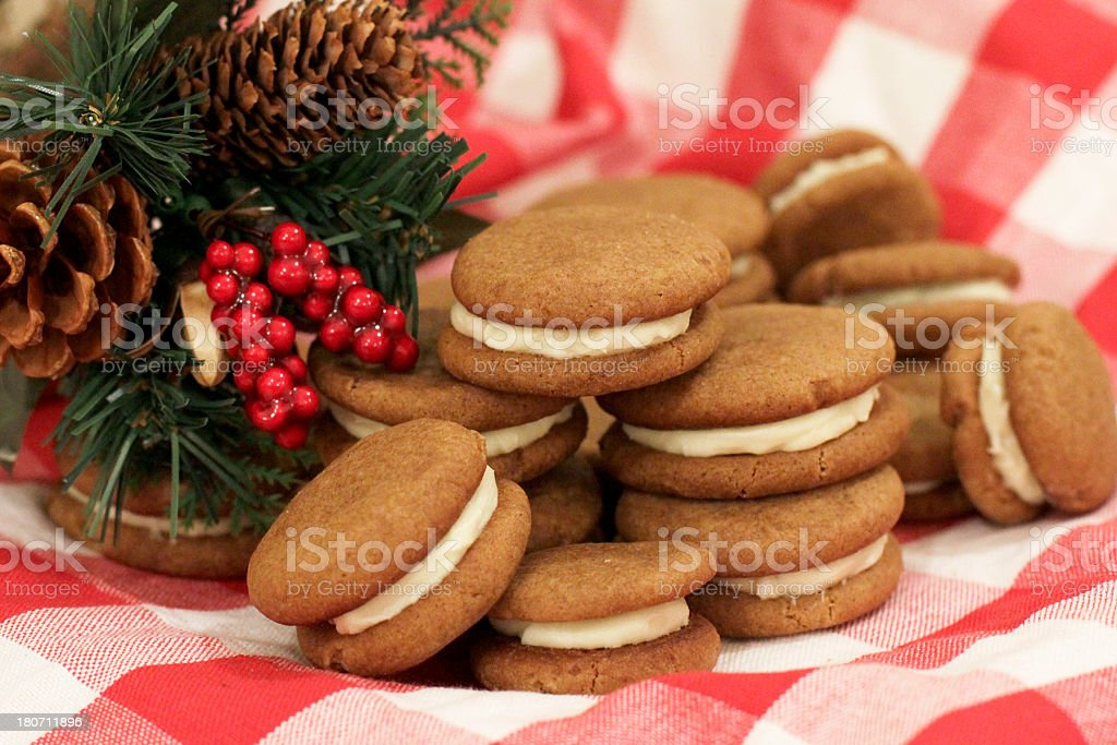 Delicious Gingerbread Sandwich Cookies at Christmas royalty-free stock photo