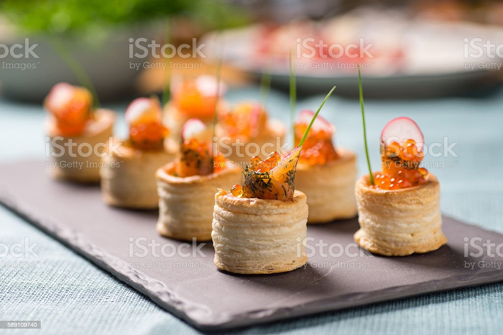 Delicious graved salmon appetizers stock photo