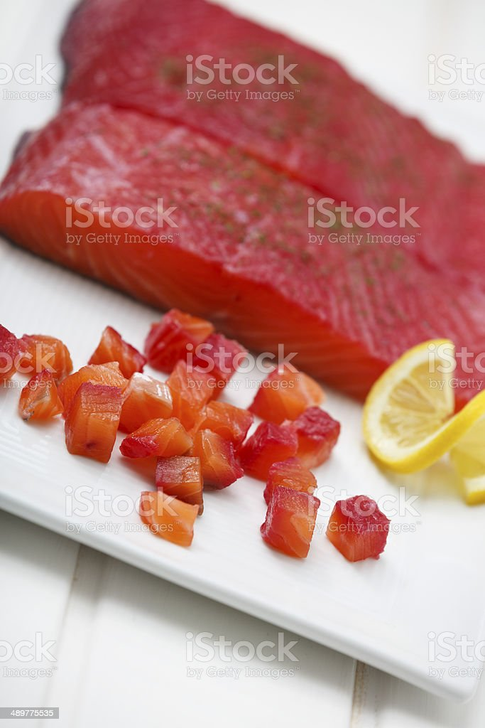 Delicious Gravlax with a Slice of Lemon stock photo
