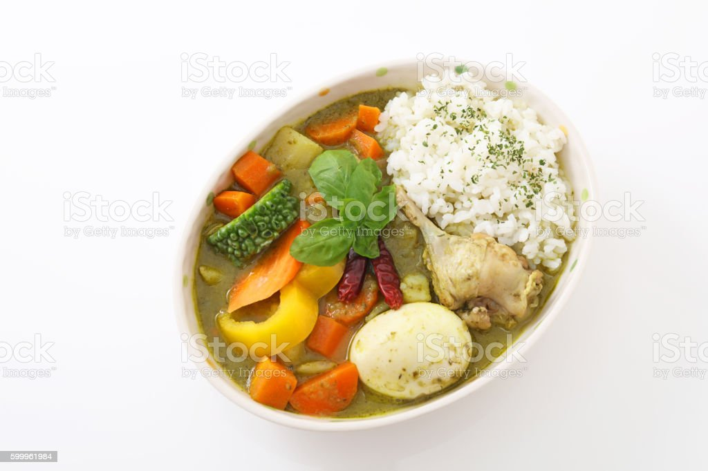 Delicious green curry stock photo