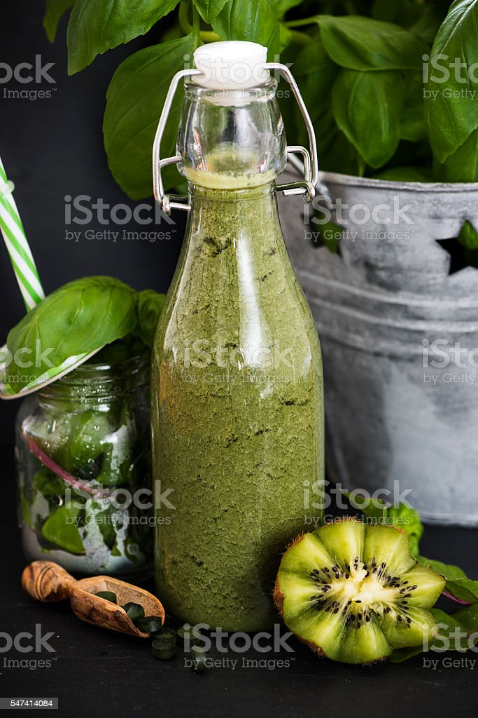 Delicious Green Smoothie for Detoxing Your Body stock photo