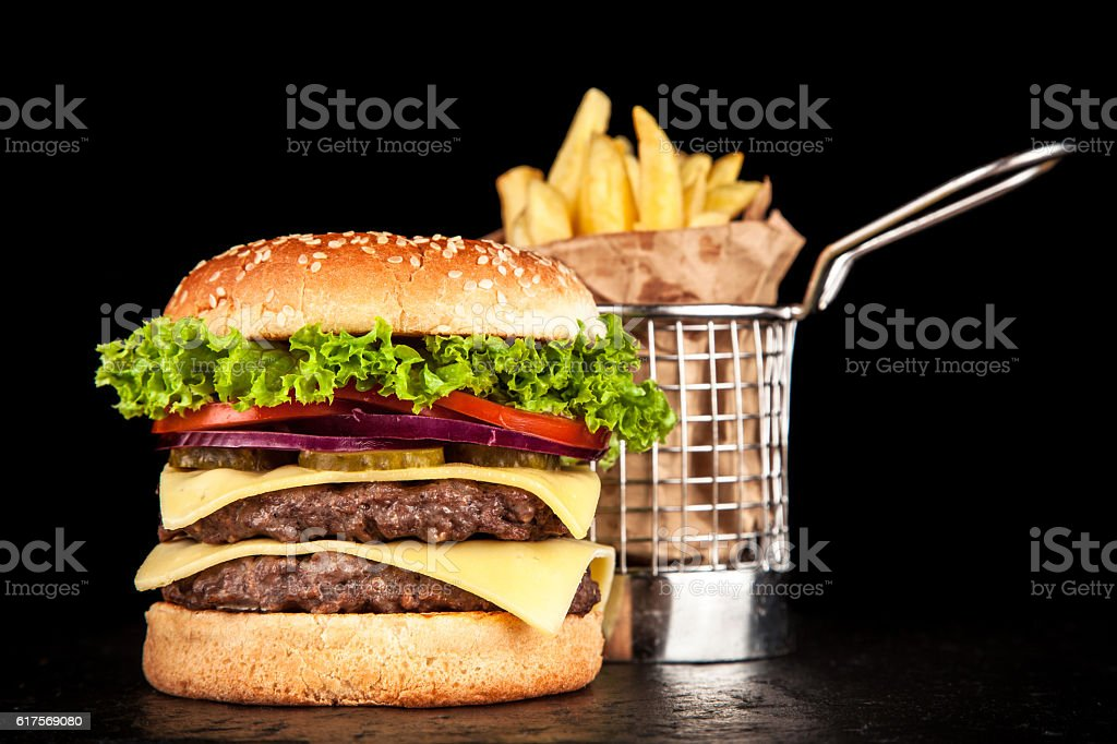 Delicious grilled burger stock photo