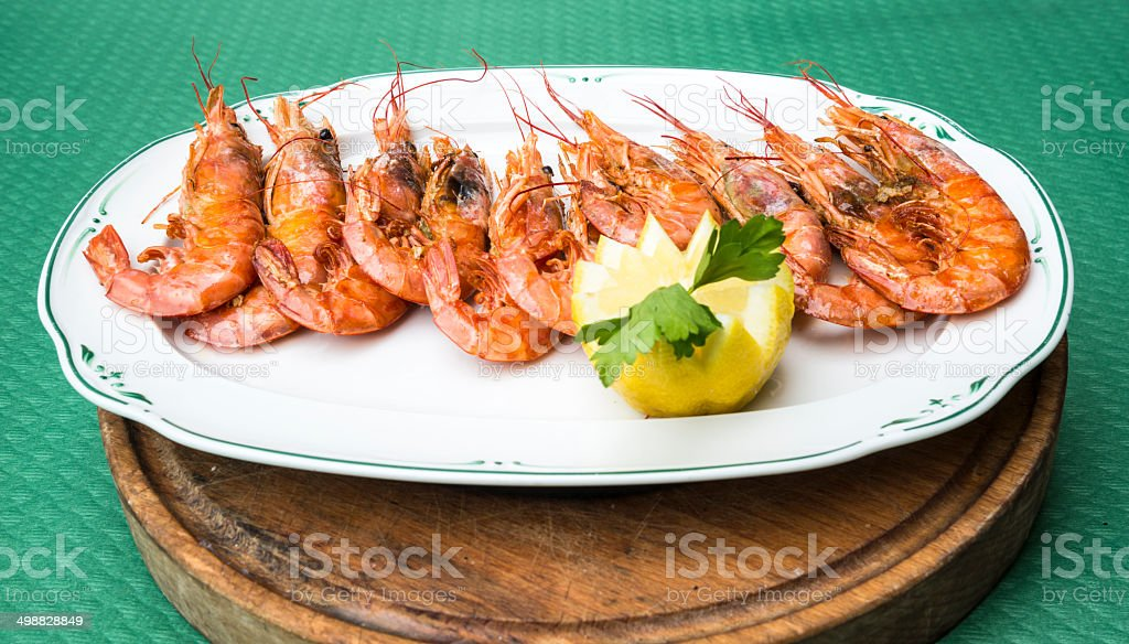 Delicious grilled prawns royalty-free stock photo