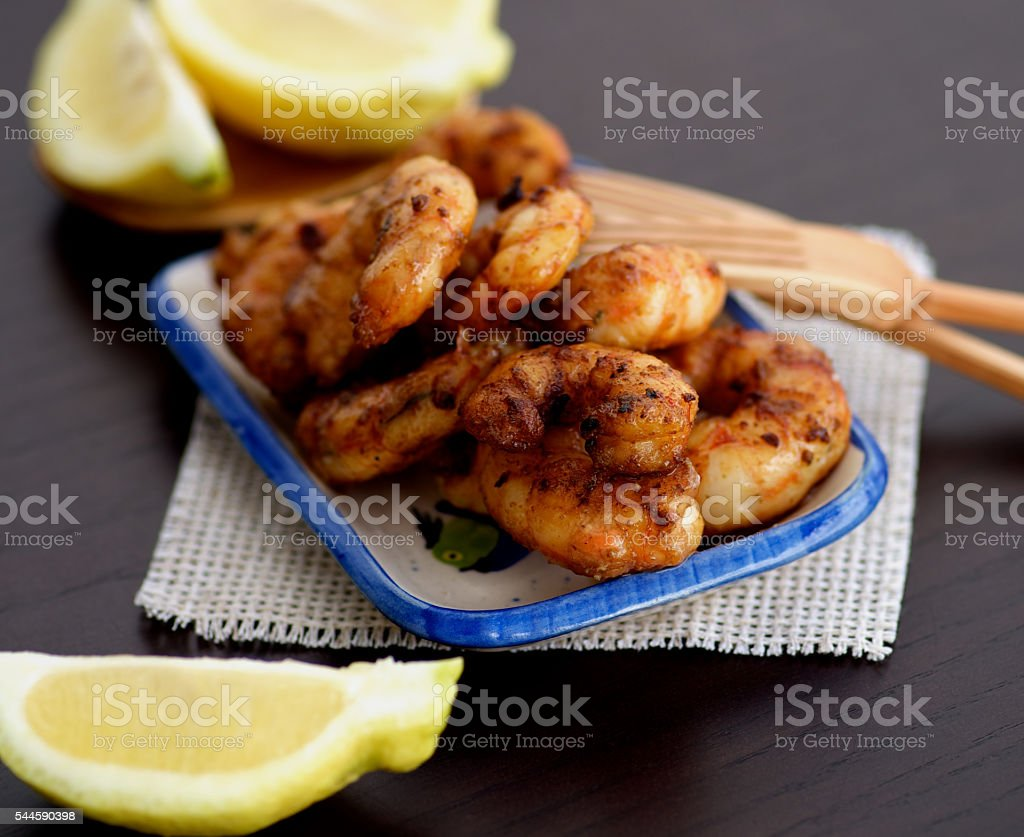 Delicious Grilled Prawns stock photo