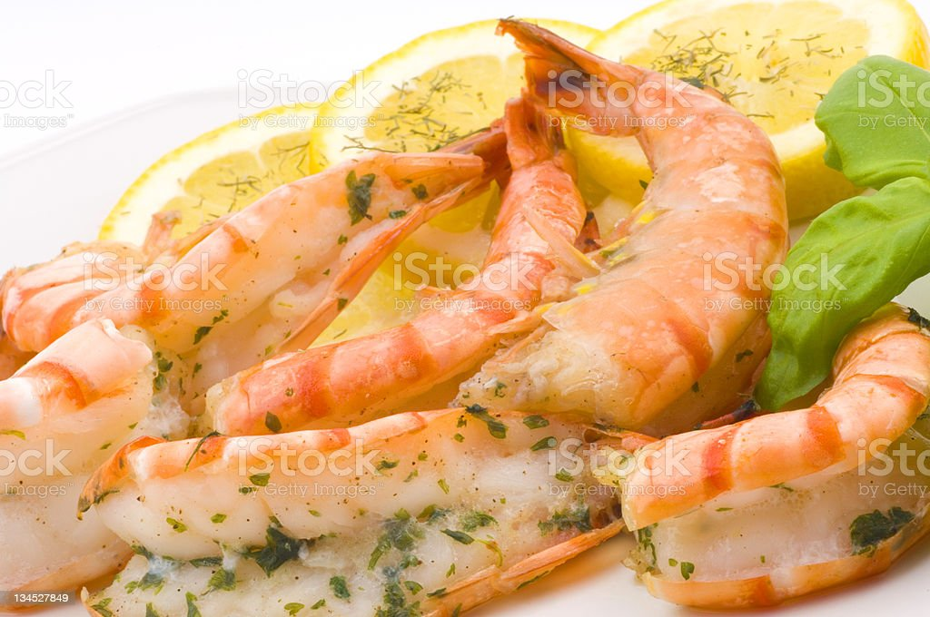 delicious grilled prawns with garlic stock photo