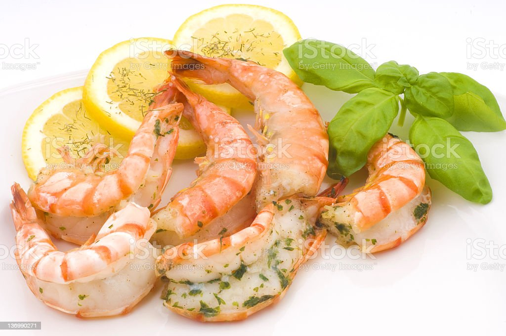 delicious grilled prawns with garlic seasoning royalty-free stock photo