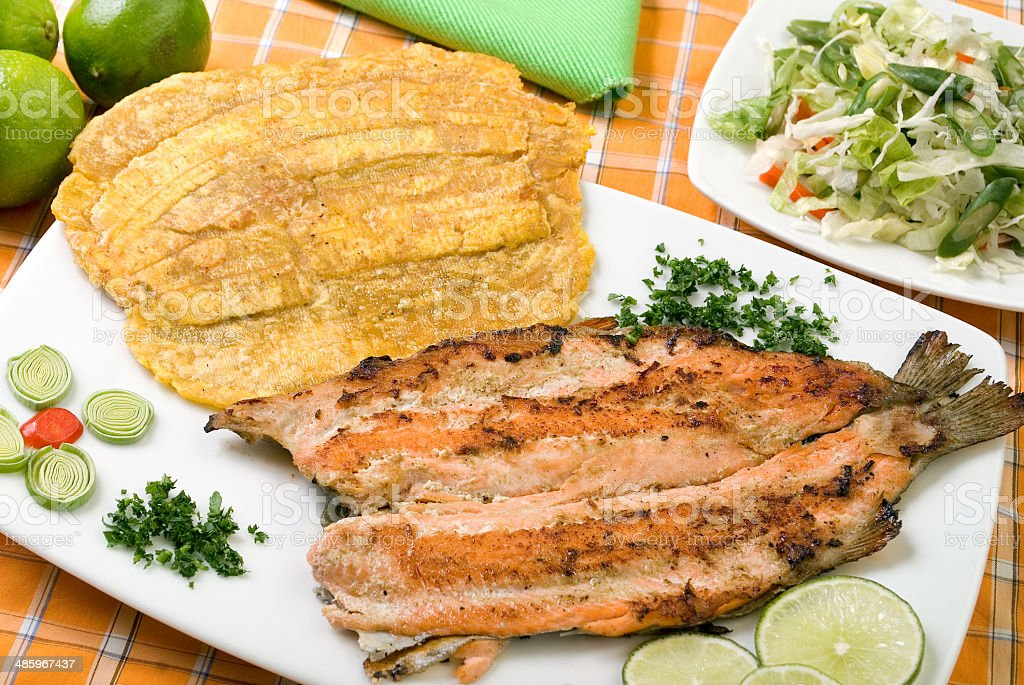 Delicious grilled trout stock photo
