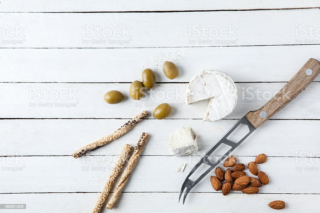 Delicious Groceries On White Table stock photo
