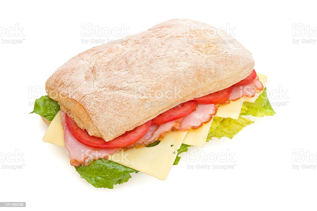 Delicious ham, tomatoes and cheese ciabatta sandwich royalty-free stock photo