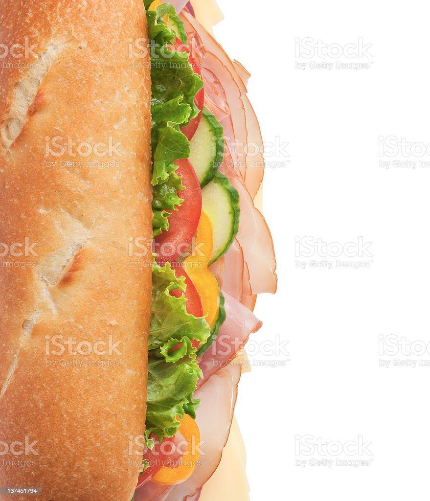 Delicious ham & turkey sandwich - top shot royalty-free stock photo