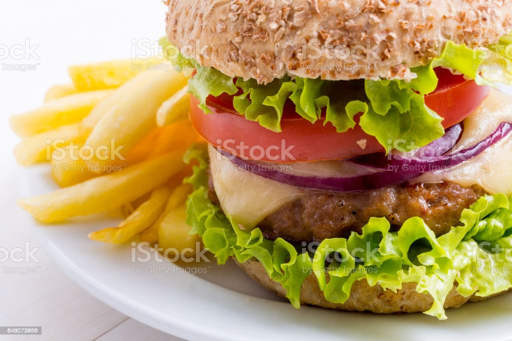 Delicious  Hamburger on Whole Wheat Bun with French Fries stock photo