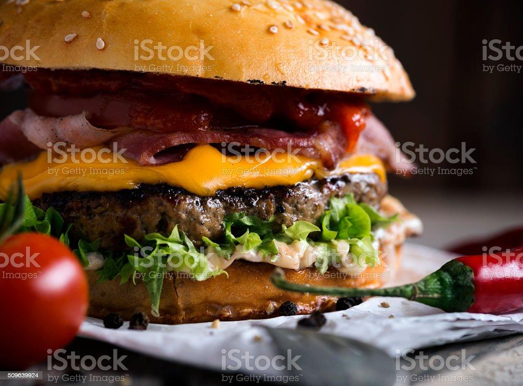 Delicious hamburger stock photo