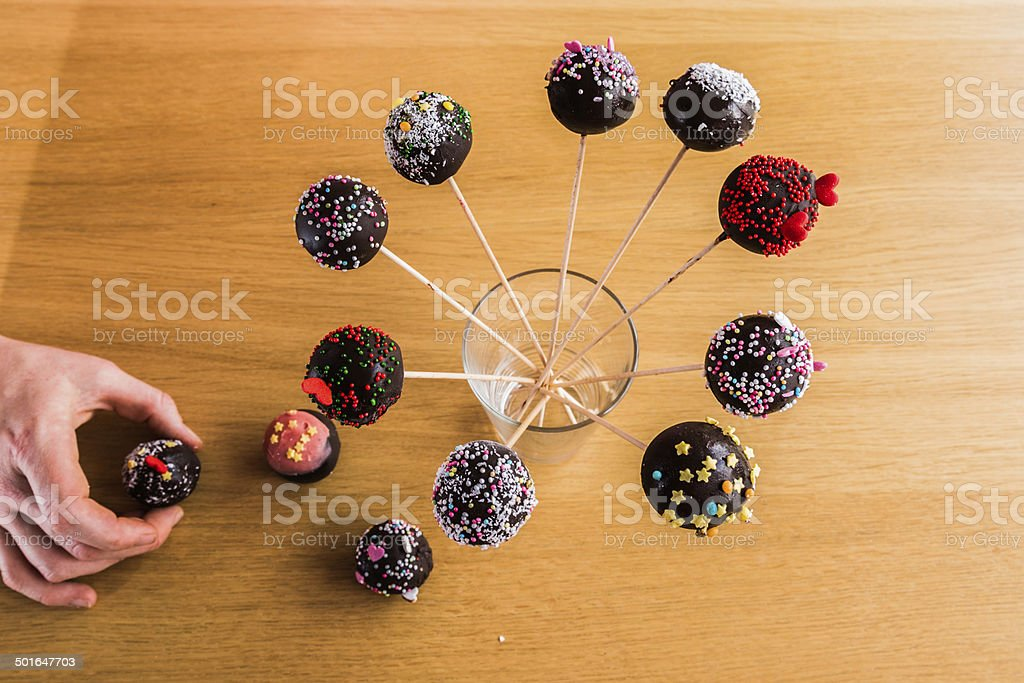 Delicious handmade Cake-Pop in a glass waiting to be eaten stock photo