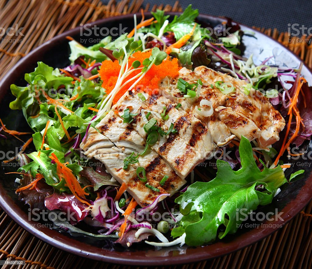 Delicious healthy chicken salad  stock photo
