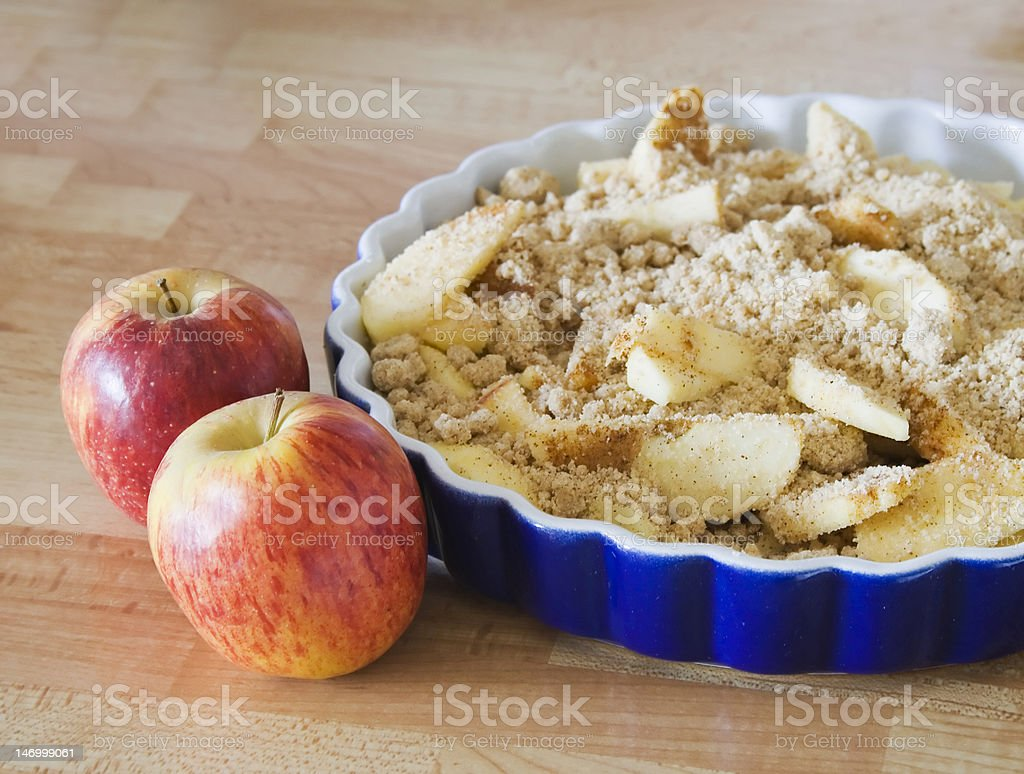 Delicious home made apple crumble stock photo