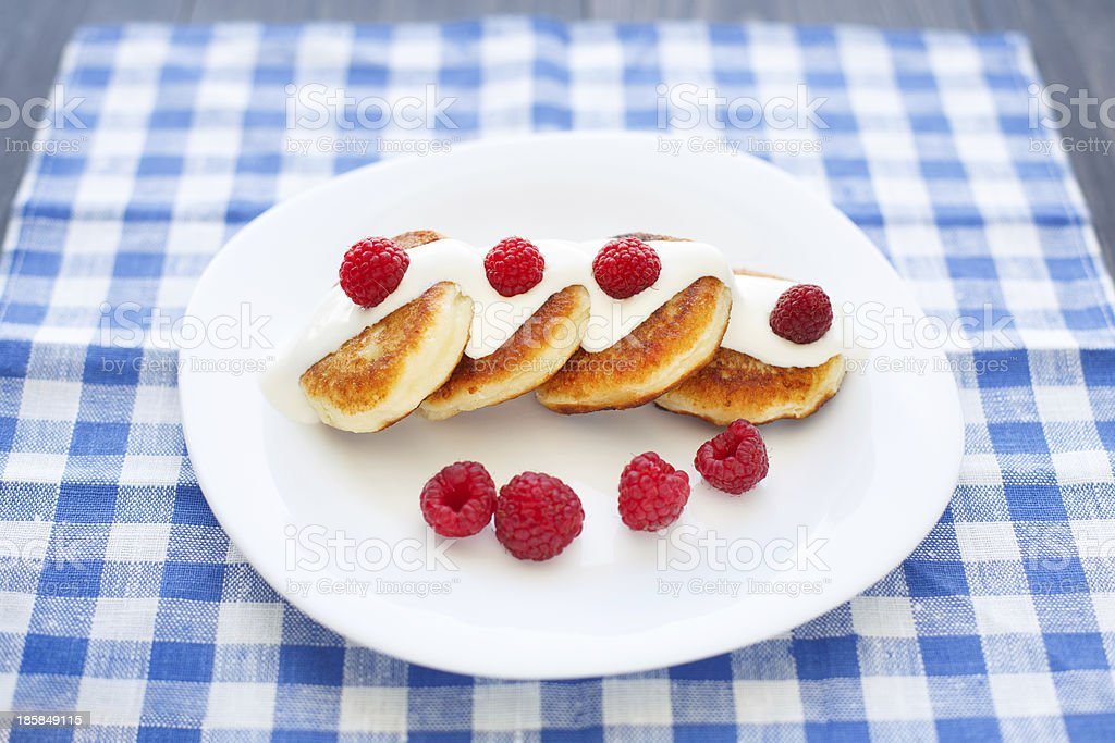 Delicious homemade cheese pancakes royalty-free stock photo