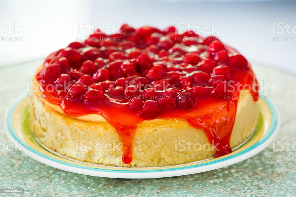 Delicious homemade cherry cheesecake Baked by the photographer stock photo
