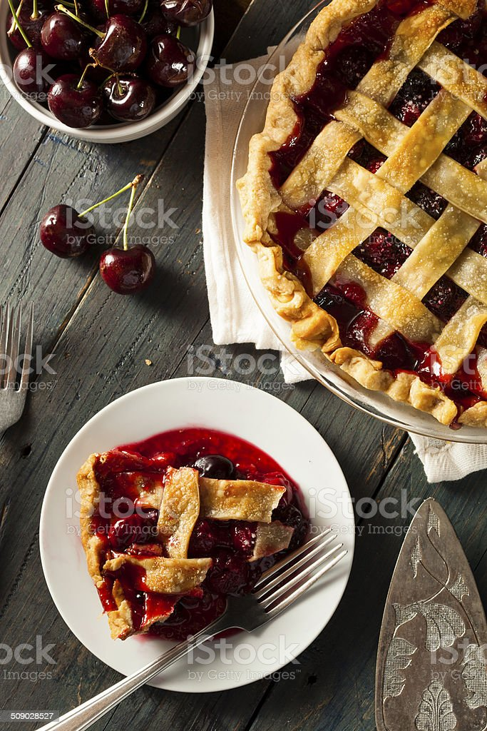 Delicious Homemade Cherry Pie stock photo