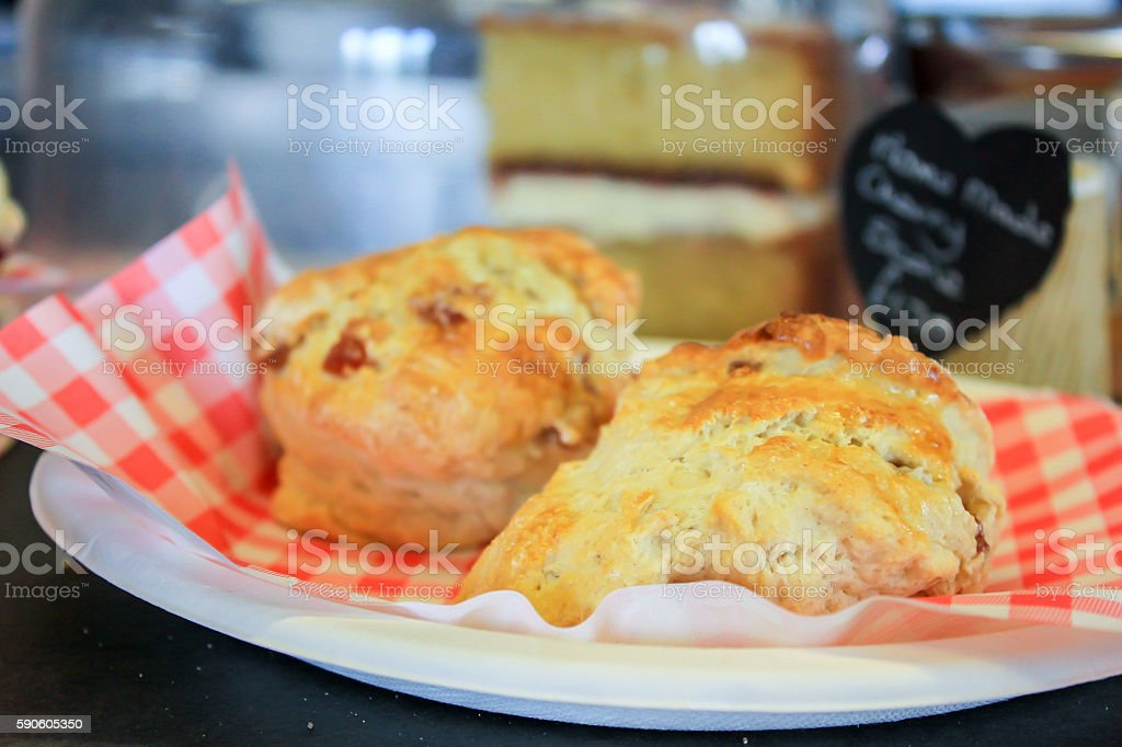Delicious homemade cherry scones stock photo