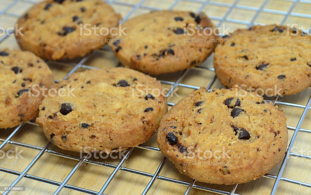 Delicious homemade chocolate chips cookies from oven stock photo