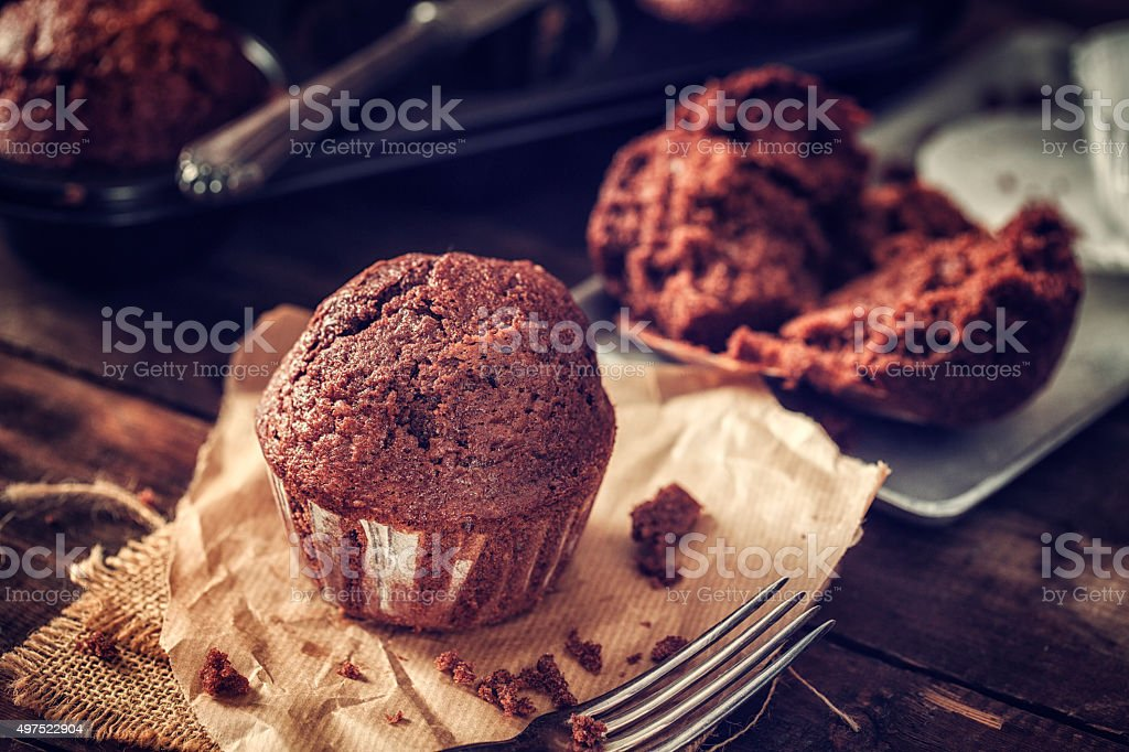 Delicious Homemade Chocolate Muffins stock photo