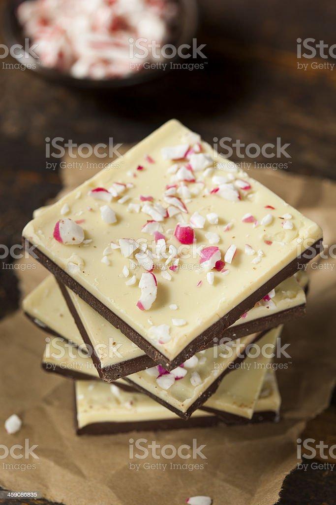 Delicious homemade Christmas peppermint bark dessert stock photo