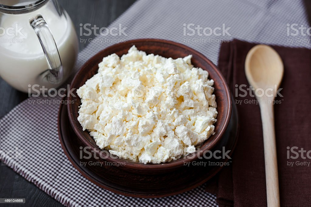 Delicious homemade cottage cheese with milk on the table stock photo