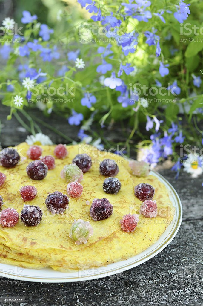Delicious homemade pancakes with berries royalty-free stock photo