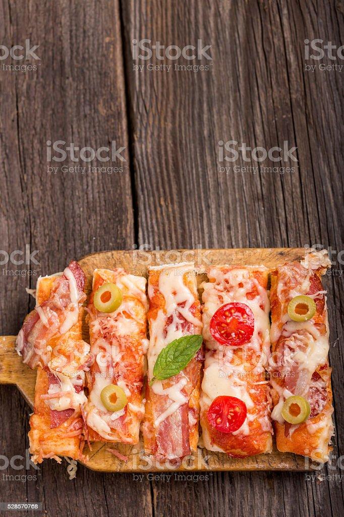 delicious homemade pizza stock photo