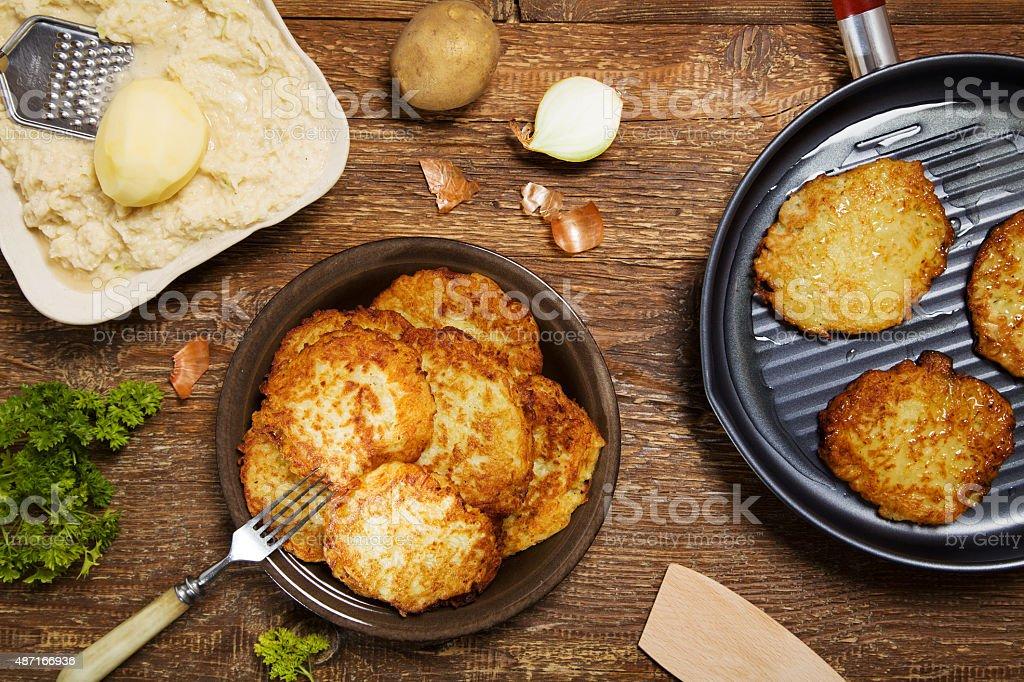 Delicious homemade potato pancakes. stock photo