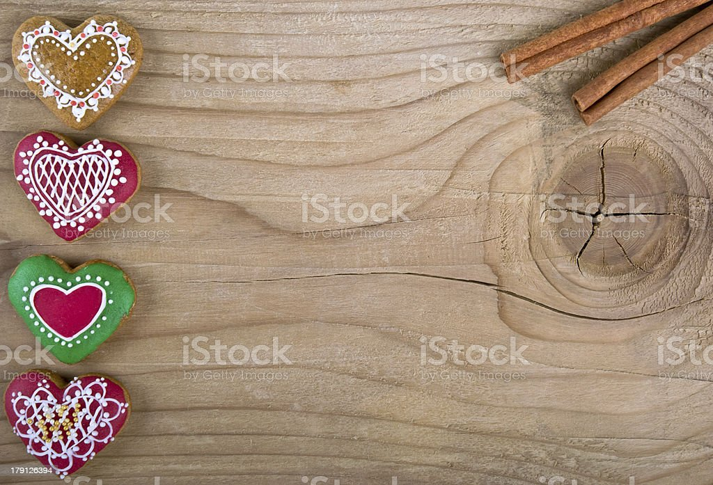 Delicious homemade valentines day gingerbread cookies on wood royalty-free stock photo